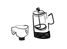 French press and coffee cup Stock Photography