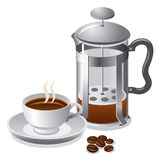 French press with coffee Stock Images