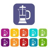 French press coffee maker icons set. Vector illustration in flat style in colors red, blue, green, and other Stock Image
