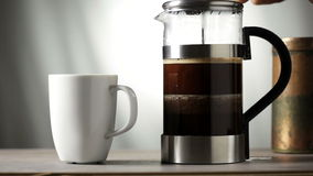 French press coffee maker stock video