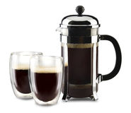 French press with glass cups Royalty Free Stock Image