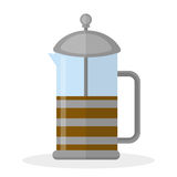French press icon, flat style. French press filter for tea and coffee isolated on white background. Vector illustration.  Stock Image