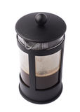 French press pot coffee filled with hot beverage composition isolated over the white background Stock Photography