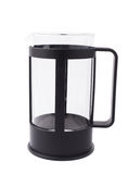 French press pot coffee maker composition isolated over the white background Royalty Free Stock Images