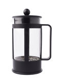 French press pot coffee maker composition isolated over the white background Stock Images