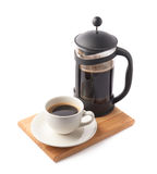 French press pot and cup of coffee Stock Images