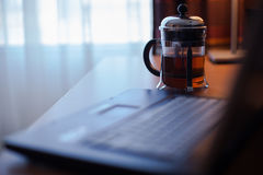 French press on the table. Stock Photo