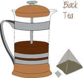 French press and tea bag vector illustration, 2d, iconic appearance. Royalty Free Stock Image