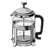French press tea pot Royalty Free Stock Photo