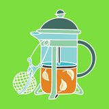 Zero waste similar 2. French-press tea-pot with a tea-infuser. Zero waste home and sustainable household vector illustration