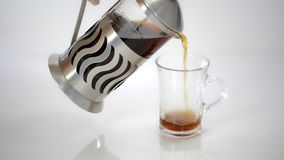 French Press with tea, tea is poured in a transparent Cup. On a white background stock video footage