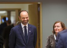French Prime Minister Mr Edouard PHILIPPE. BRUSSELS, BELGIUM - Nov 24, 2017: French Prime Minister Mr Edouard PHILIPPE at the Fifth Eastern Partnership Summit stock photo