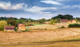 French Provence farm landscape in early morning Stock Photos