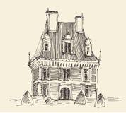 French Province, Wine Label Menu, Vintage Engraved. French province, wine label design, architecture vintage engraved illustration hand drawn sketch Royalty Free Stock Photos