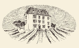 French Province, Wine Label Menu, Vintage Engraved stock illustration