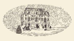 French Province, Wine Label Menu, Vintage Engraved. French province, wine label design, architecture vintage engraved illustration hand drawn sketch Stock Images