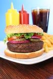 french, przyprawy fry hamburger wodę Fotografia Royalty Free