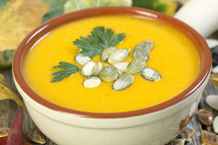 French pumpkin soup close up. Stock Images