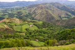 French Pyrenees Mountains panoramic view in May stock image