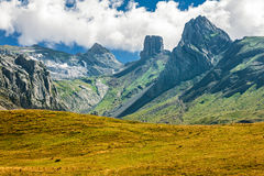 French Pyrenees Range of Peaks. Range of Peaks in the french Pyrenees Stock Photos