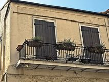 French Quarter Building with Two Doors and Balcony with Three Planters. New Orleans, LA USA - May 9, 2018  -  French Quarter Building with Two Doors and Balcony Stock Photo