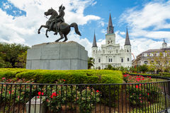 French Quarter Cityscape. Popular Jackson Square with Andrew Jackson statue and Saint Louis Cathedral in the French Quarter in New Orleans, Louisiana royalty free stock photo