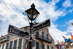 French Quarter Cityscape. Street signs and architecture of the French Quarter in New Orleans, Louisiana stock images