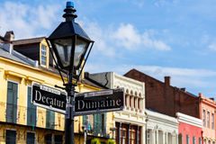 French Quarter Cityscape. Street signs and architecture of the French Quarter in New Orleans, Louisiana stock image