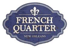 French Quarter New Orleans Enamel Sign Vintage Retro. Rustic old antique NOLA blue vector illustration