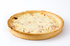 French quiche Lorraine with bacon and cooked ham isolated Stock Image