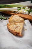 French Quiche Lorraine with ingredients on wood board Stock Images