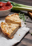 French Quiche Lorraine with ingredients on wood board Royalty Free Stock Photography