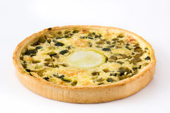 French quiche Lorraine with vegetables isolated Stock Image