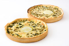 French quiche Lorraine with vegetables isolated Royalty Free Stock Image