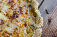 French quiche with onion, leek and mushrooms Stock Images