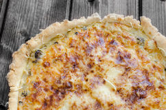 French quiche with onion, leek and mushrooms Stock Photo