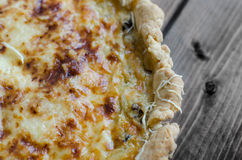 French quiche with onion, leek and mushrooms Royalty Free Stock Photo