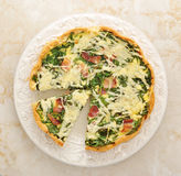 French quiche pie with egg, cheese and spinach Royalty Free Stock Photography
