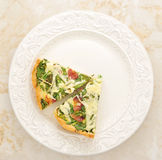 French quiche pie with egg, cheese and spinach on the plate. Top Stock Images