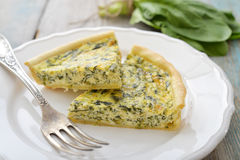 French quiche pie with spinach Stock Photography