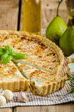 French quiche stuffed cheese and pears Royalty Free Stock Photos
