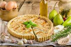 French quiche stuffed cheese and pears Royalty Free Stock Photography