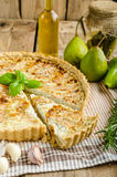 French quiche stuffed cheese and pears Stock Photos