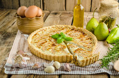 French quiche stuffed cheese and pears Stock Photography