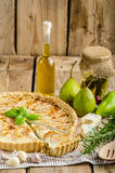 French quiche stuffed cheese and pears Stock Images