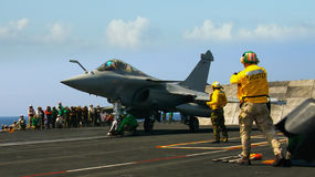 French Rafale on Aircraft Carrier Royalty Free Stock Photo