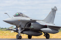 French Rafale Navy fighter jet. SCHLESWIG-JAGEL, GERMANY - JUN 23, 2014: French Navy Dassault Rafale during the NATO Tiger Meet at Schleswig-Jagel airbase. The Royalty Free Stock Image