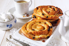 French raisin buns. And cup of tea Royalty Free Stock Images