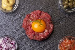 French raw minced. Meat called tartare Royalty Free Stock Photos
