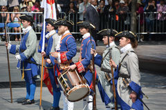 French regime soldiers. MONTREAL CANADA 05 17 17: French regime soldiers for the 375 anniversary of the foundation of Montreal by Paul Chomedey de Maisonneuve Royalty Free Stock Images